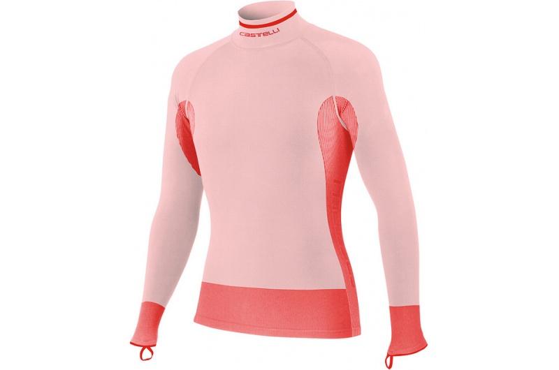 CASTELLI funkční triko Iride dlouhý rukáv bílá-červená