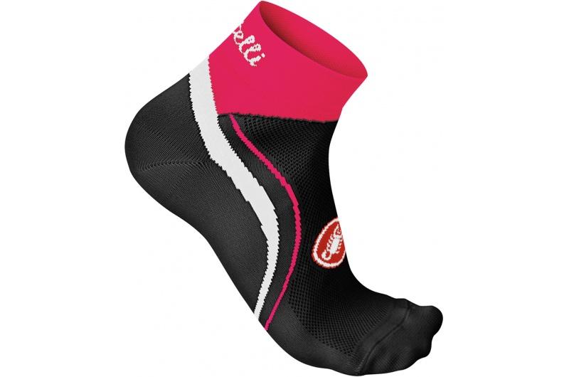 CASTELLI ponožky dámské Luna 3cm černá/růžová