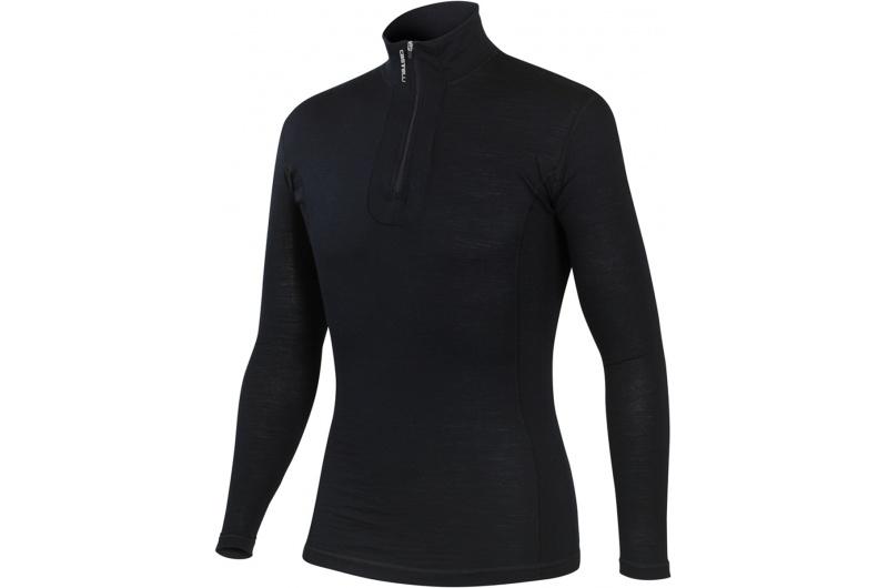CASTELLI funkční triko WOOL Zip dlouhý rukáv černá