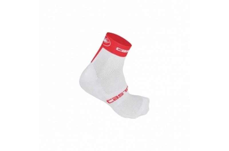 CASTELLI ponožky Free 3cm bílá/červená