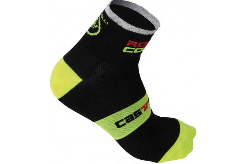 CASTELLI ponožky Rosso Corsa 6cm black/yellow fluo