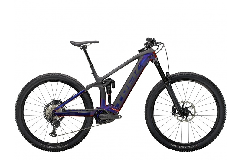 TREK elektrické kolo Rail 9.8 2021 Gloss Purple Phaze/Matte Raw Carbon