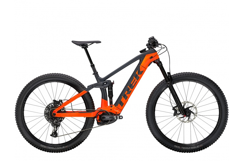 TREK elektrické kolo Rail 9.7 NX 2021 Solid Charcoal/Radioactive Orange