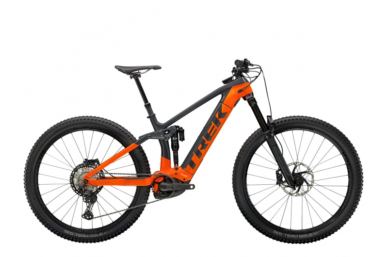 TREK elektrické kolo Rail 9.8 XT 2021 Solid Charcoal/Radioactive Orange