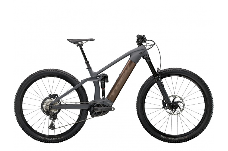 TREK elektrické kolo Rail 9.8 XT 2021 Solid Charcoal to Root Beer Ano Decal
