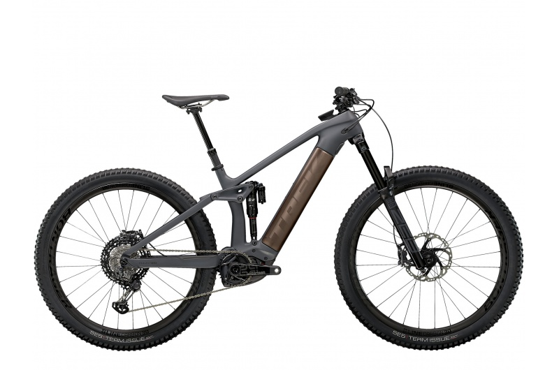 TREK elektrické kolo Rail 9.9 XTR 2021 Solid Charcoal to Root Beer Ano Decal