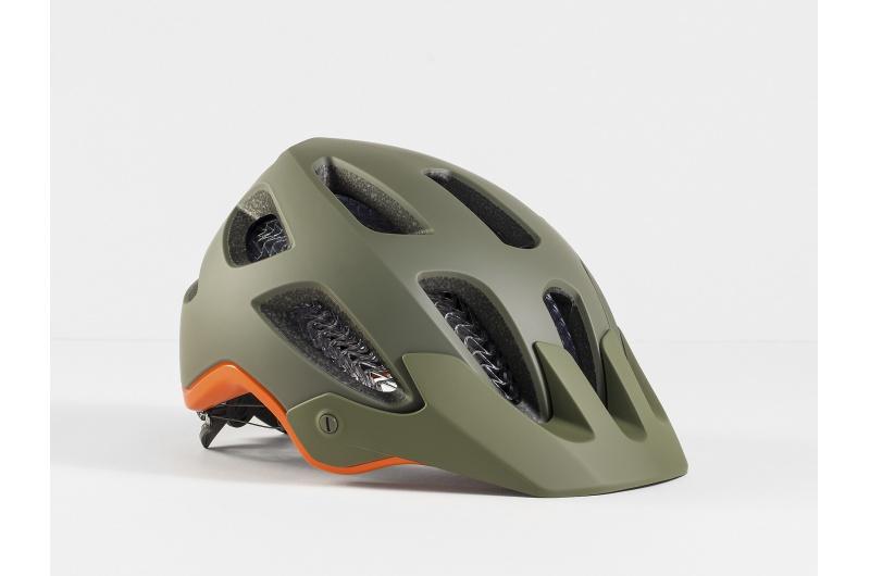 Horská cyklistická přilba Bontrager Rally WaveCel Olive Grey/Roarange