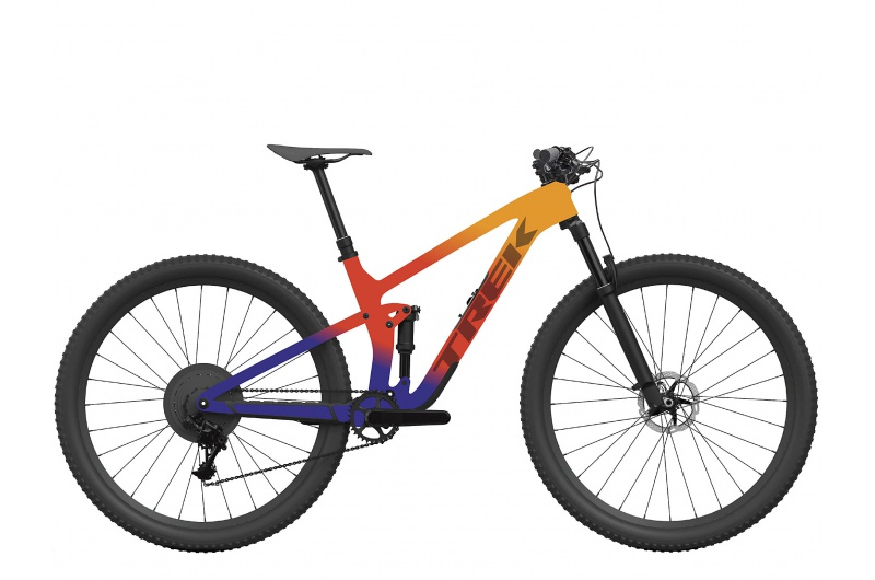 TREK elektrické kolo Top Fuel 9.9 XTR 2022 Marigold to Red to Purple Abyss Fade